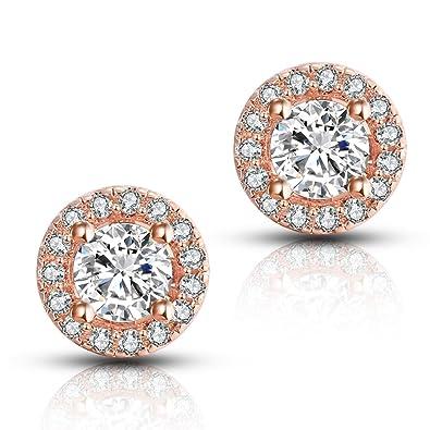 3ddb3bb8b66e4 Amazon.com: Halo CZ Stud Earrings - Fleur Rouge 18k White Gold ...