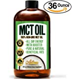Premium Grade MCT Oil (100% PURE & NATURAL - HUGE 36 OUNCES) C8 Brain Fuel - Perfect Addition to Coffee, Salads, Smoothies, and Keto Diet Users - Approved for Paleo Diet, Kosher Certified, & Vegan