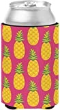 Caroline's Treasures Pineapples On Pink Can or Bottle Hugger, Can Hugger, Multicolor
