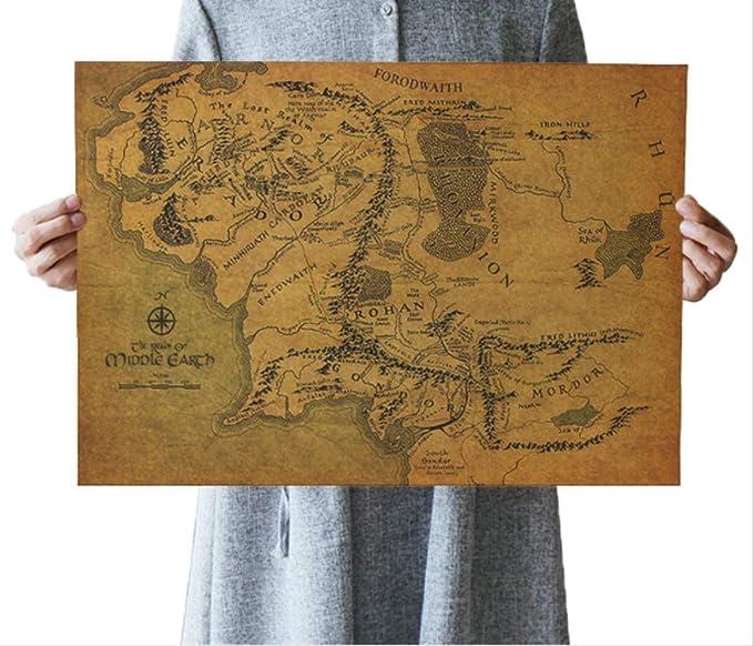 hzcl Cartel De Papel, El Señor De Los Anillos El Mapa Hobbit De La ...