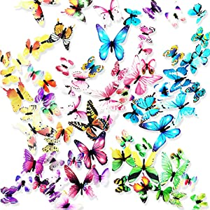 Ewong Butterfly Wall Decals - 72PCS 3D Butterflies Home Decor-Stickers, Removable Mural Decoration for Girls Living Room Kids Bedroom Bathroom Baby Nursery, Waterproof DIY Art (5 Color+1colorful)