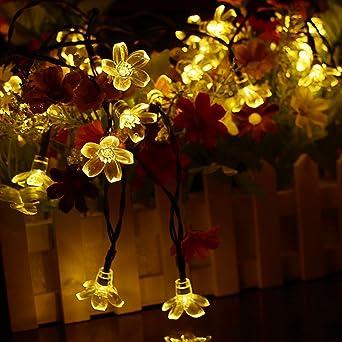 Berocia guirnalda luces exterior solar led luces led solares para exteriores jardin Luces Decorativas Guirnaldas Decoracion Cadena Luces luci natalizie esterno 7 Metro 50 LED ip65 Impermeabile: Amazon.es: Iluminación