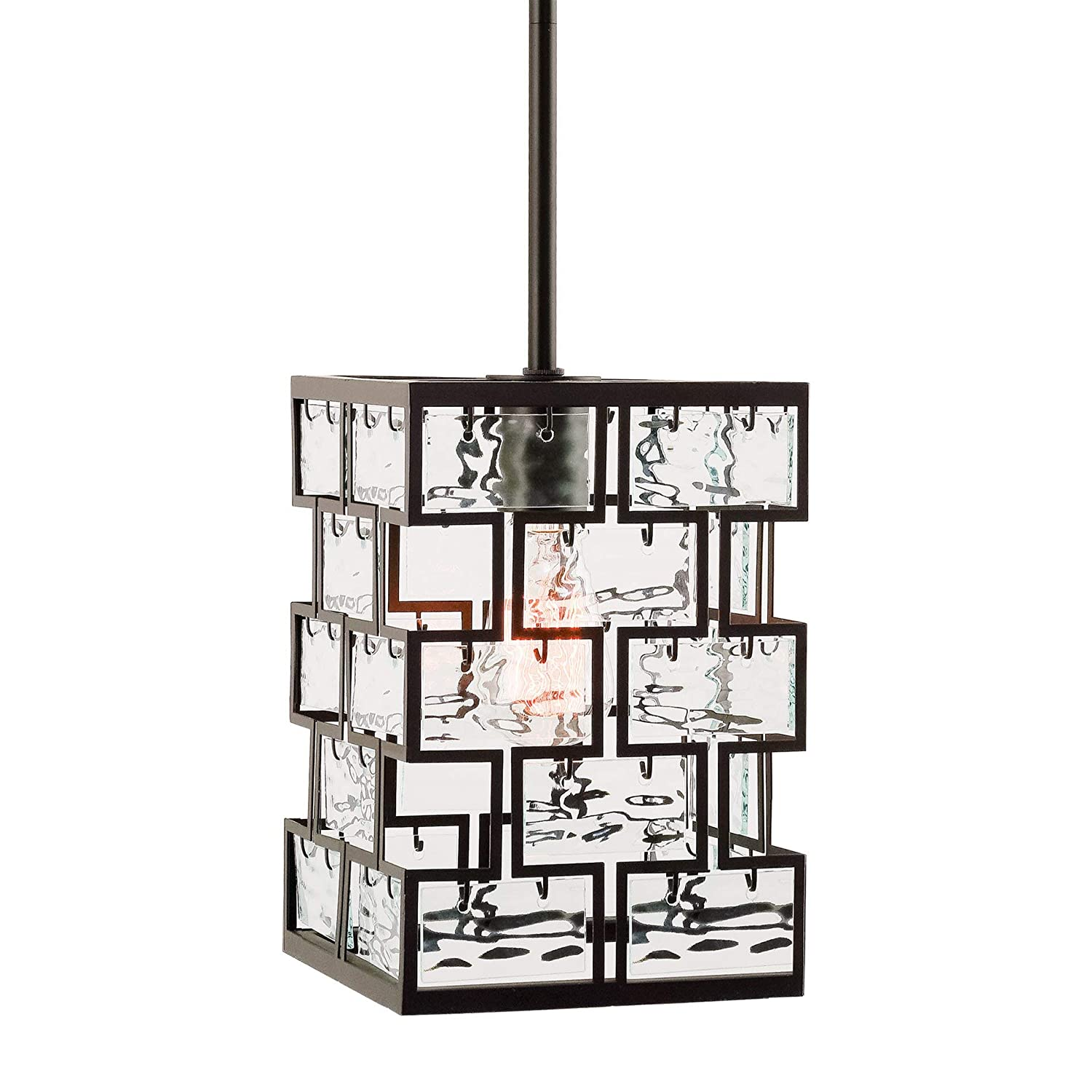"Kira Home Mirage 10"" Modern 1-Light Pendant Light with Wavy Glass Panels, Oil Rubbed Bronze Finish"