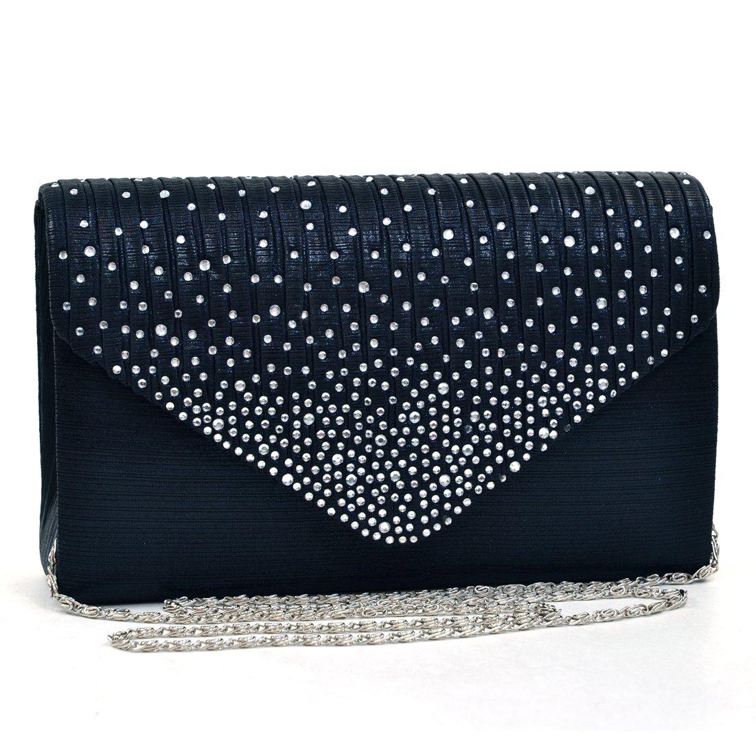 Womens Envelope Flap Clutch Handbag Evening Bag Purse Rhinestone Crystal Glitter Sequin Party Black