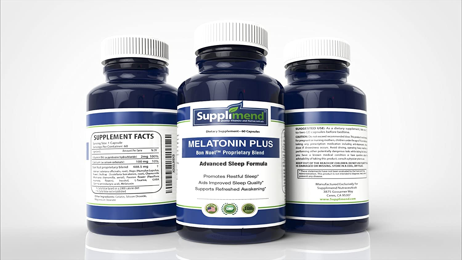 Amazon.com: SUPPLIMEND Melatonin Plus Sleep Aid | 12 All-Natural Sleep Ingredients | Includes Melatonin 3mg, Valerian Root, GABA, Skullcap, Chamomile, ...