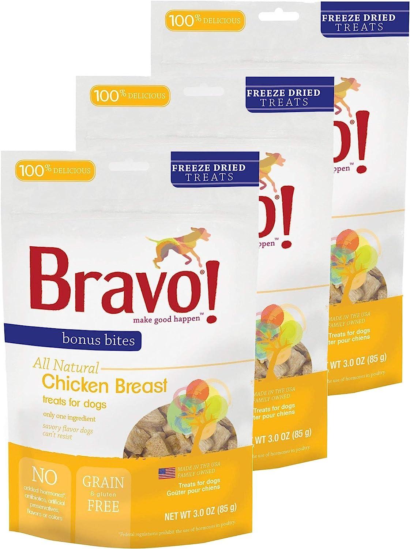 Bravo! Bonus Bites All Natural Freeze Dried Chicken Breast Dog Treats - Grain & Gluten Free - 3 Ounce Bags