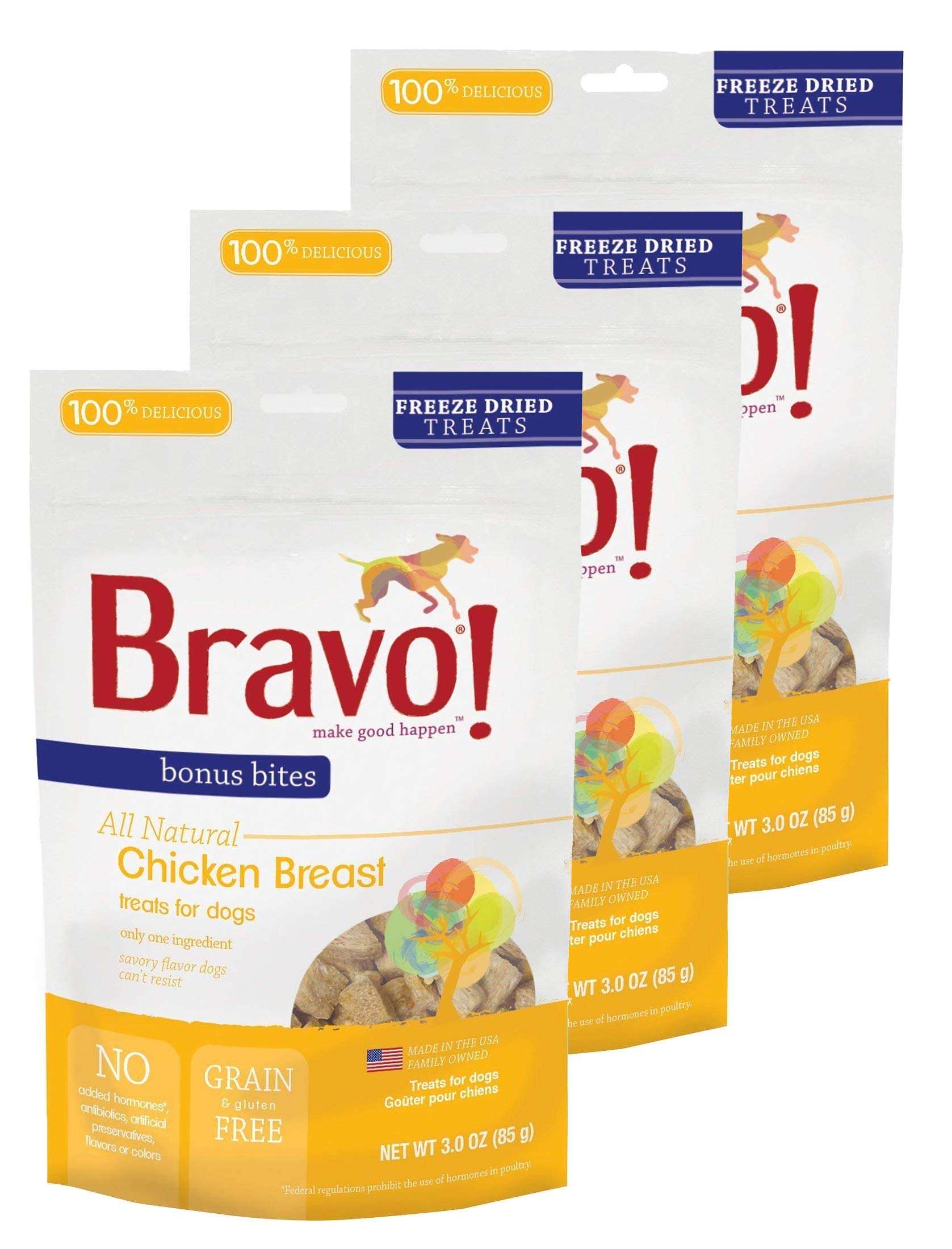 Bravo! Treats for Dogs Freeze Dried Chicken Breast - All Natural - Grain Free - 3 oz. 3 Pack by Bravo!