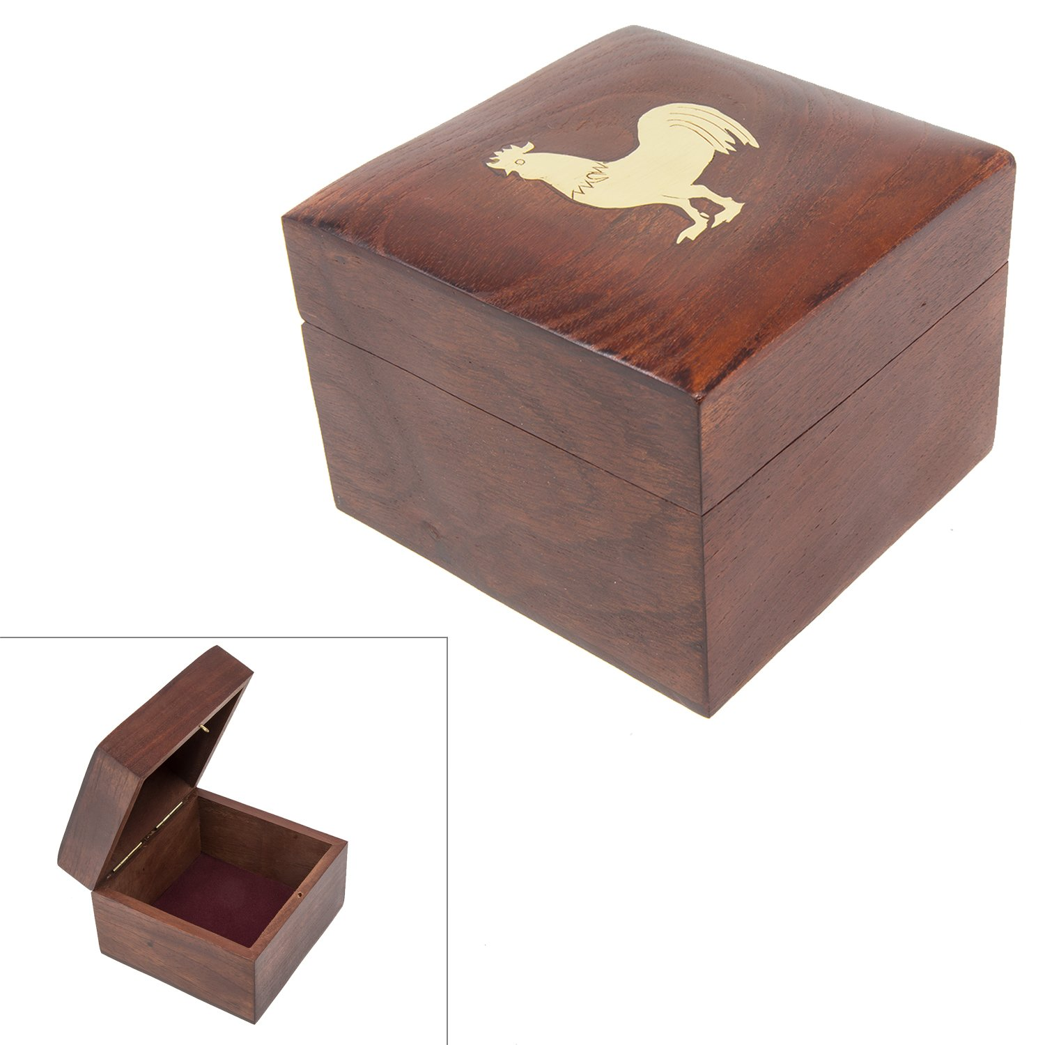 Handmade Wood Square Box Carved by Traditional Artisans of India- Wood Box Storage-Square Wood Box for Trinkets-Rooster Charm,4.5 Inch