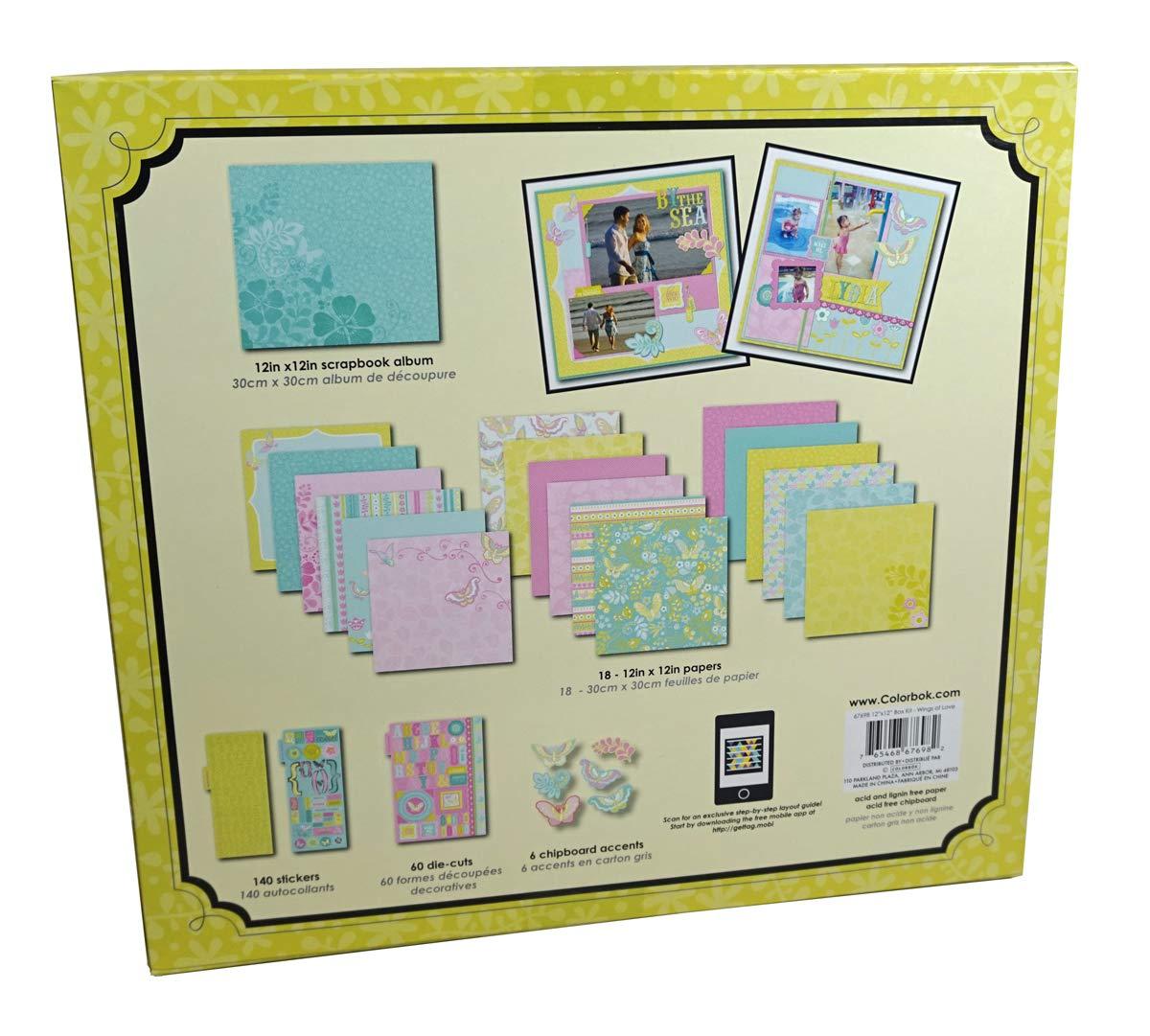 140 Stickers, 60 die-cuts Colorbok WINGS of LOVE 12x12 Scrapbook Album Kit