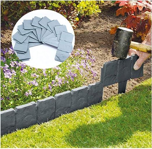 WLPARTY 10 Piezas Gris Efecto de Piedra de adoquinado para jardín, césped, Borde para Crear un Borde de Planta de plástico Limpio: Amazon.es: Jardín