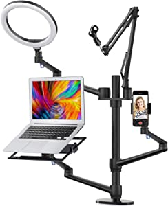 "Viozon Selfie Desktop Live Stand Set 6-in-1 10"" LED Ring Light Microphone Mount competiable with 12-17"" laptop/17-32'' monitor/7-13 Tablet/3.5-6"" Phone/Digital Camera DSLR Online Teaching Meeting"