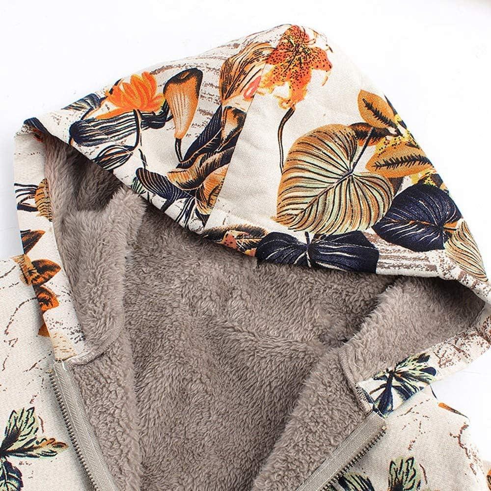 NCKLY Veste à Imprimé Femme Manteau d'hiver pour Femmes Chauds Outwear Imprimé Floral Poches À Capuchon Vintage Manteaux Oversize Femmes Occasionnels Outwear M