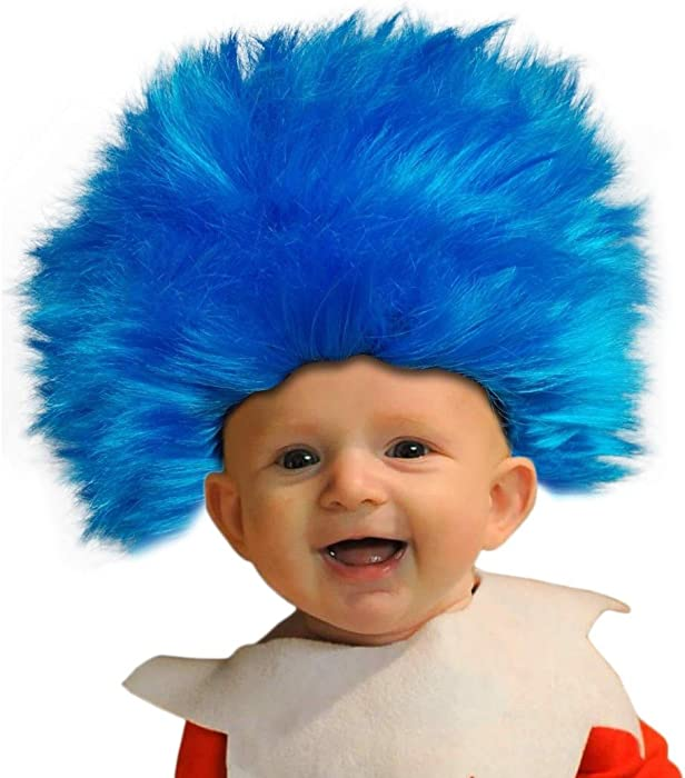 amazoncom party hair toddler size blue straight up in the air wig emulate your favorite characters clothing