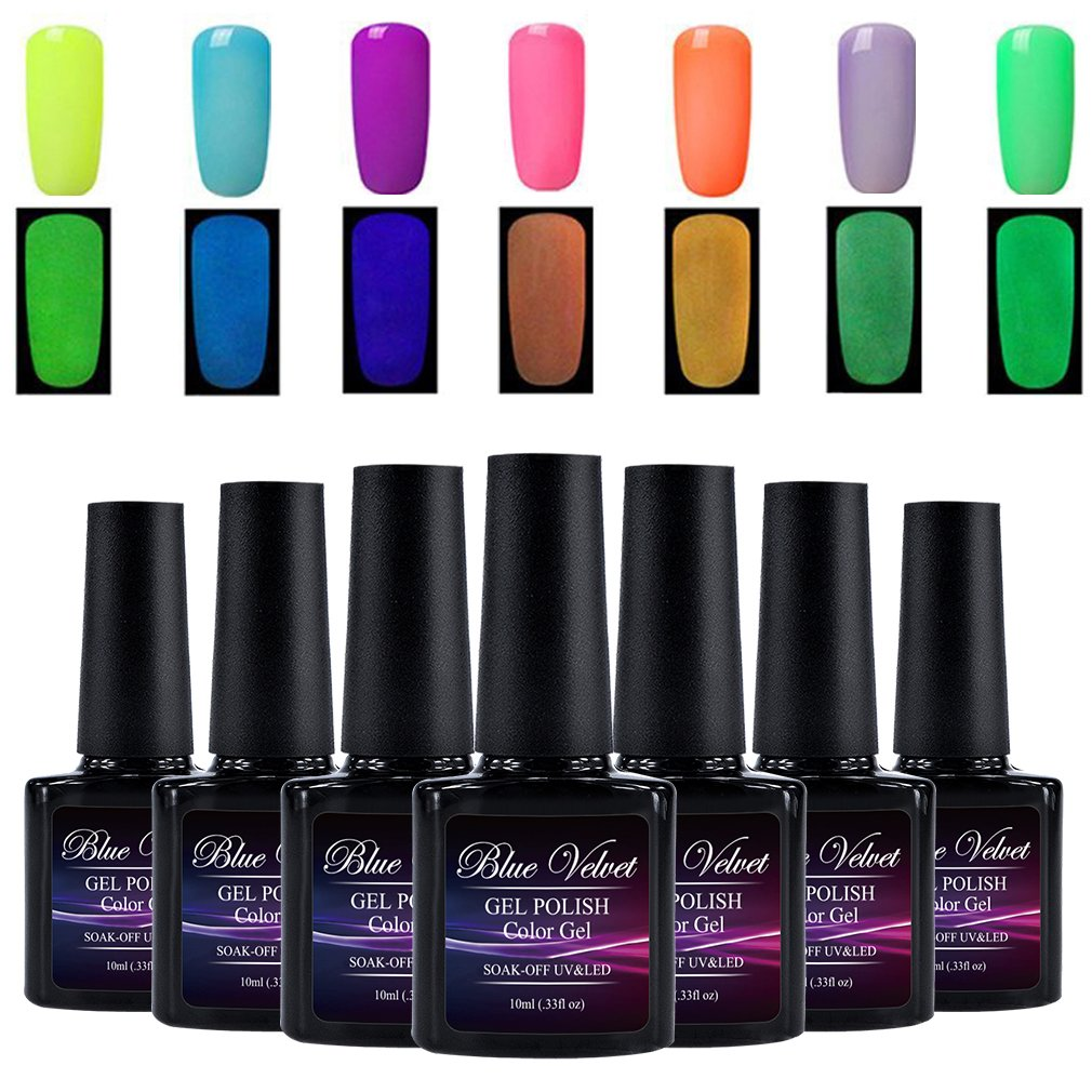 Amazon.com : Luminous Gel Nail Polish Set Blue Velvet 10ml Glow In ...