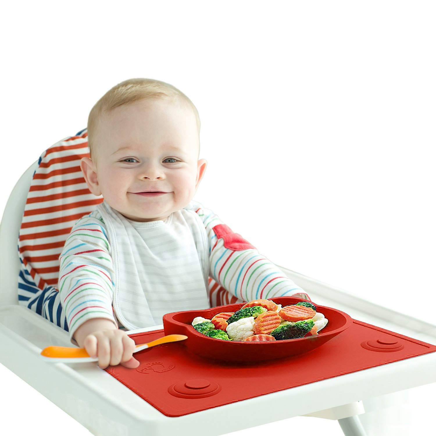 Baby High Chair Feeding Placemat - Portable Meal Tray / Infant Led Weaning Bowl with Extra Suction Pads ensuring No Mess - BPA & Toxic Free Chuckle