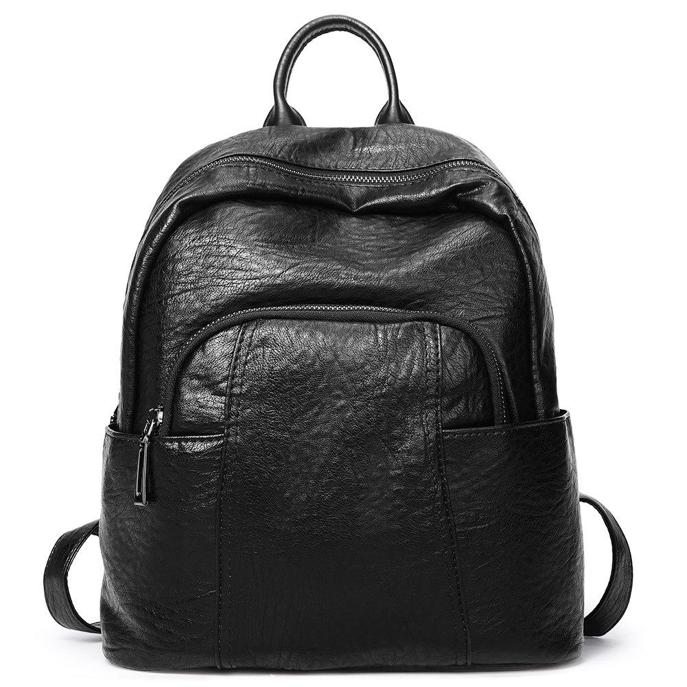 Women Backpack Purse Soft Leather Fashion Ladies Travel Shoulder Bag black