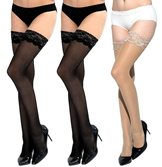 de7453f93 Women Thigh High Stockings -3 Pairs Silky Lace Silicone Stockings Hold Up  Nylon Pantyhose (A B