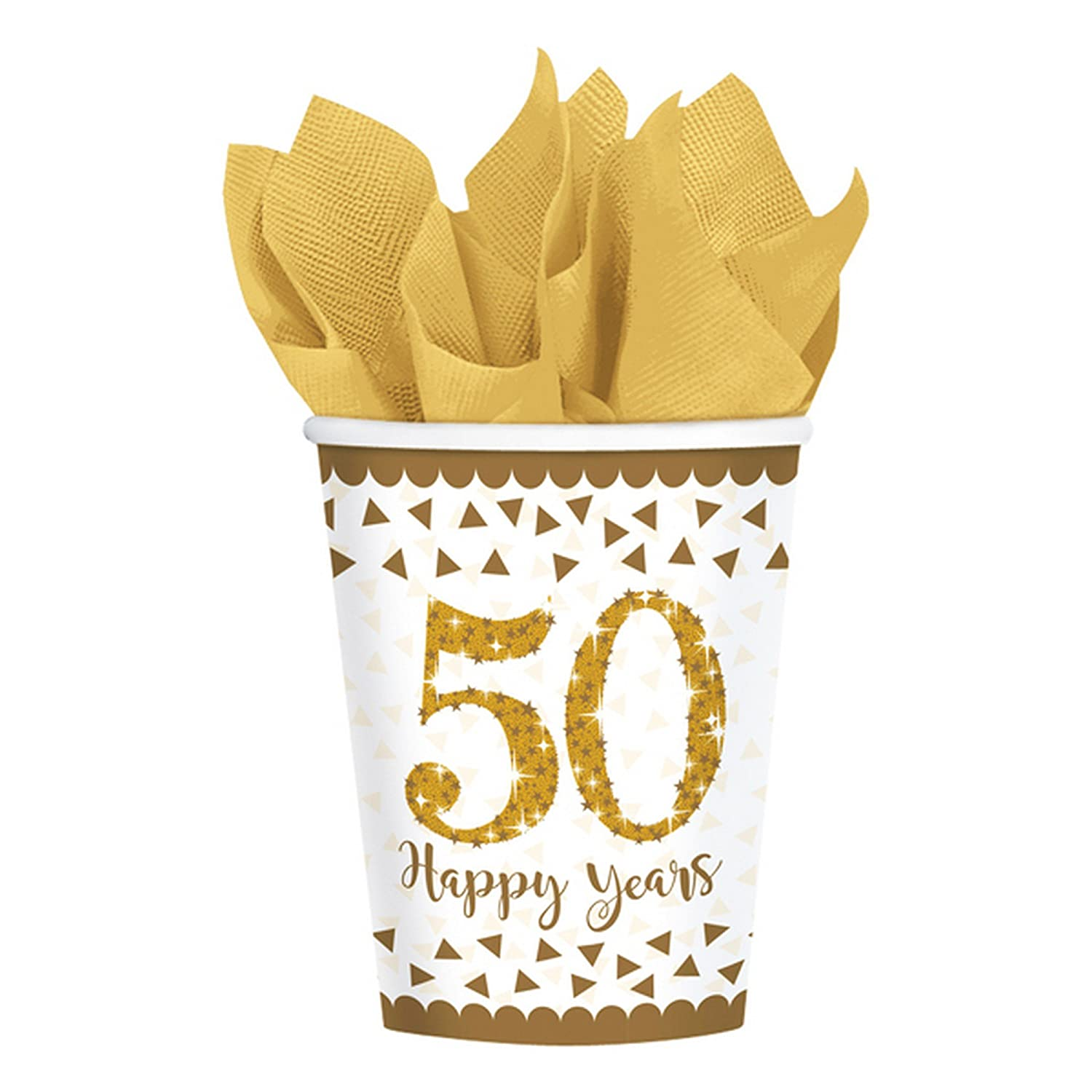 Amscan Sparkling Golden 50th Anniversary Paper Party Cups x 8 UTSG11087_1