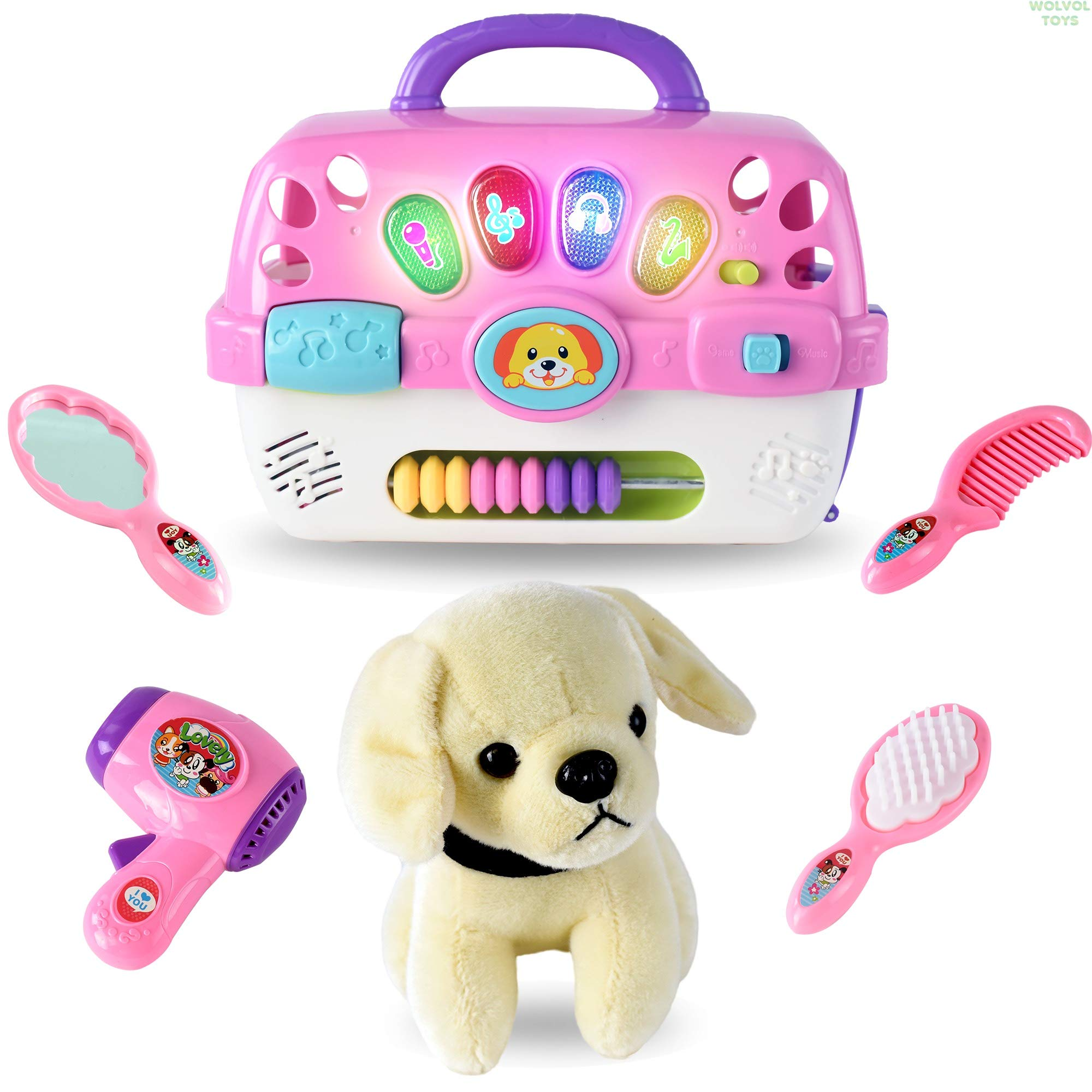 WolVol Pet Vet Kit - Colorful Pet Grooming Playset Toy with Lights & Audio - Imaginative Pretend Play for Kids - for Buys & Girls by WolVol