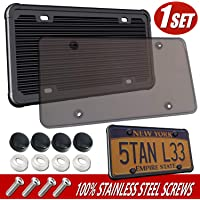 Aootf Silicone License Plate Frame with Cover - Unbreakable Clear Smoked License Plate Cover, Flat Tag Holder Cover…
