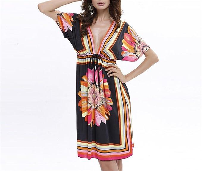 367c7c10fcff6 HOTGIRY& Women Dress Sexy Sundresses Deep V Ethnic Floral Print ...