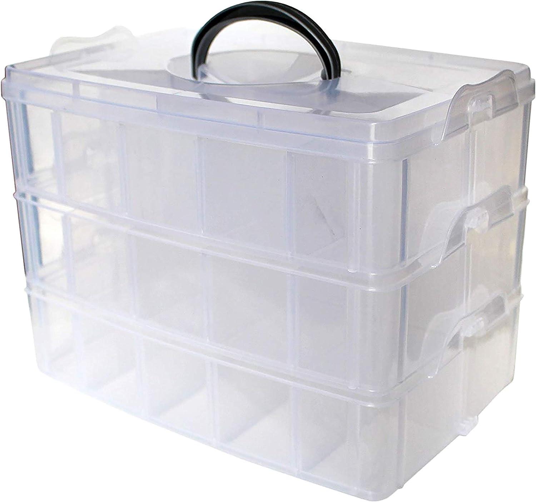 Caja Almacenamiento 3 Niveles Plástico Transparente - Para Guardar y Organizar Hilos de Coser Cuentas Artículos de Belleza Esmaltes Joyas Artes y Accesorios Manualidades- 30 Compartimentos (1 PACK)