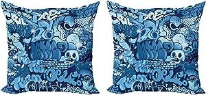 Ambesonne Urban Graffiti Throw Pillow Cushion Cover Pack of 2, Xenomorph Alien and Skull on Aquatic Shaded Street Art, Zippered Double-Side Digital Print Decor, 18