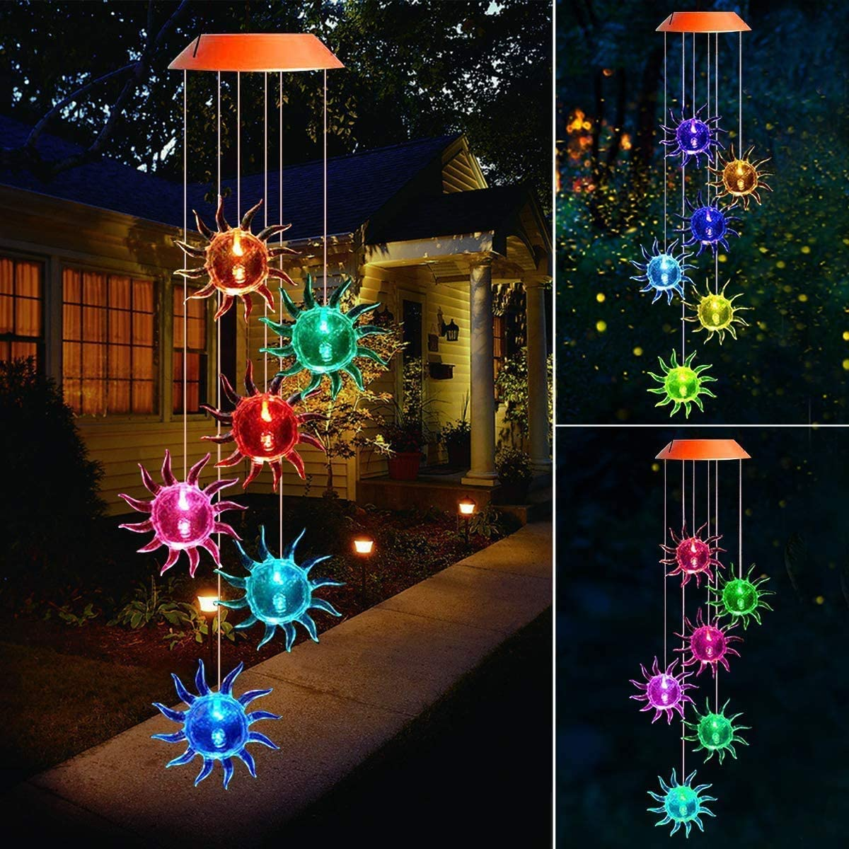Garden Solar Light Beinhome Sunflower Windchime LED Light Color Changing Decoration Solar Lantern Great Gift for Children