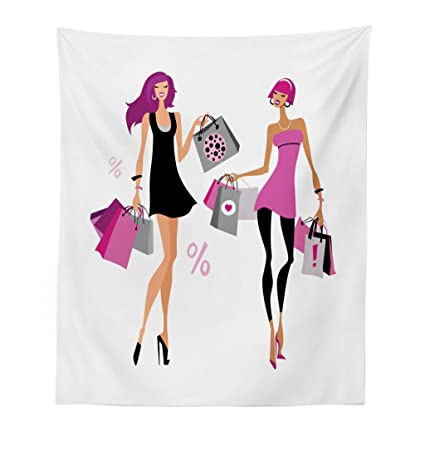 dc429f4e0067 Lunarable Fashion Tapestry, Cheerful Girl Friends Carrying Shopping Bags  Image Shopaholic Lifestyle Theme Print, Fabric Wall Hanging Decor for  Bedroom ...