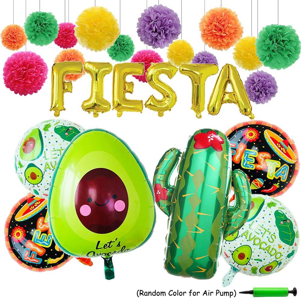 FIESTA Party Foil Ballons, 24 Large Cactus Ballon Cinco De Mayo Decorations Fiesta Theme Tissue Pom Paper Flowers - Mexican Party Supplies Decorations(Set of 28) Xplanet