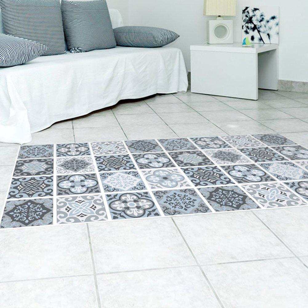 Exoticbuy Grey Moroccan Tile Floor Stickers Waterproof Anti-slip ...