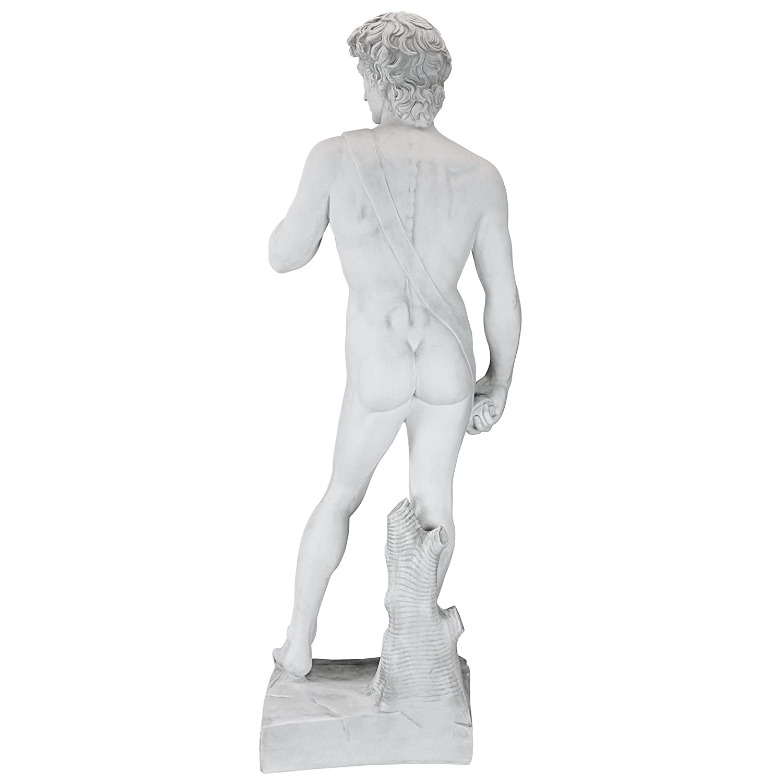 Design Toscano WU71542 Statua in Marmo David 7.5x11.5x30.5 cm 1504 Bianco