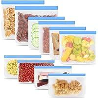 Reusable Ziplock Bags,10 Pack BPA Free Storage Bags Kitchen Storage & Organisation Freezer Bags Kitchen Tools & Gadgets