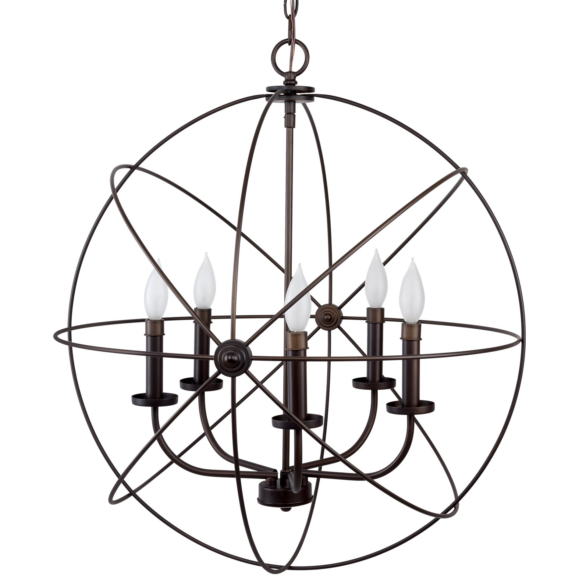 Revel Orbits II Large 24'' 5-Light Modern Sphere/Orb Chandelier Bronze by Revel