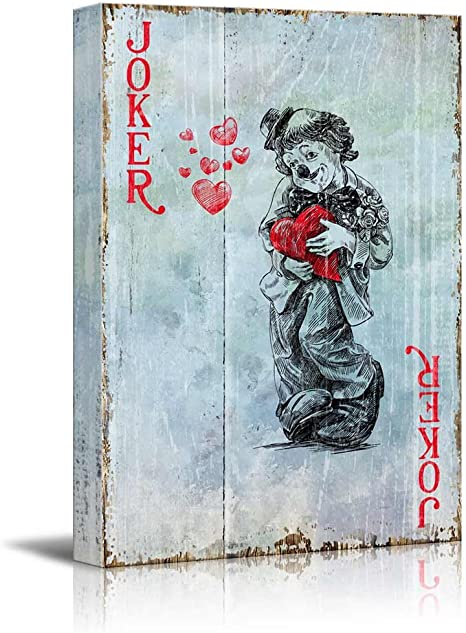 Joker with Poker Card Stretched Canvas ~ 3 Panels