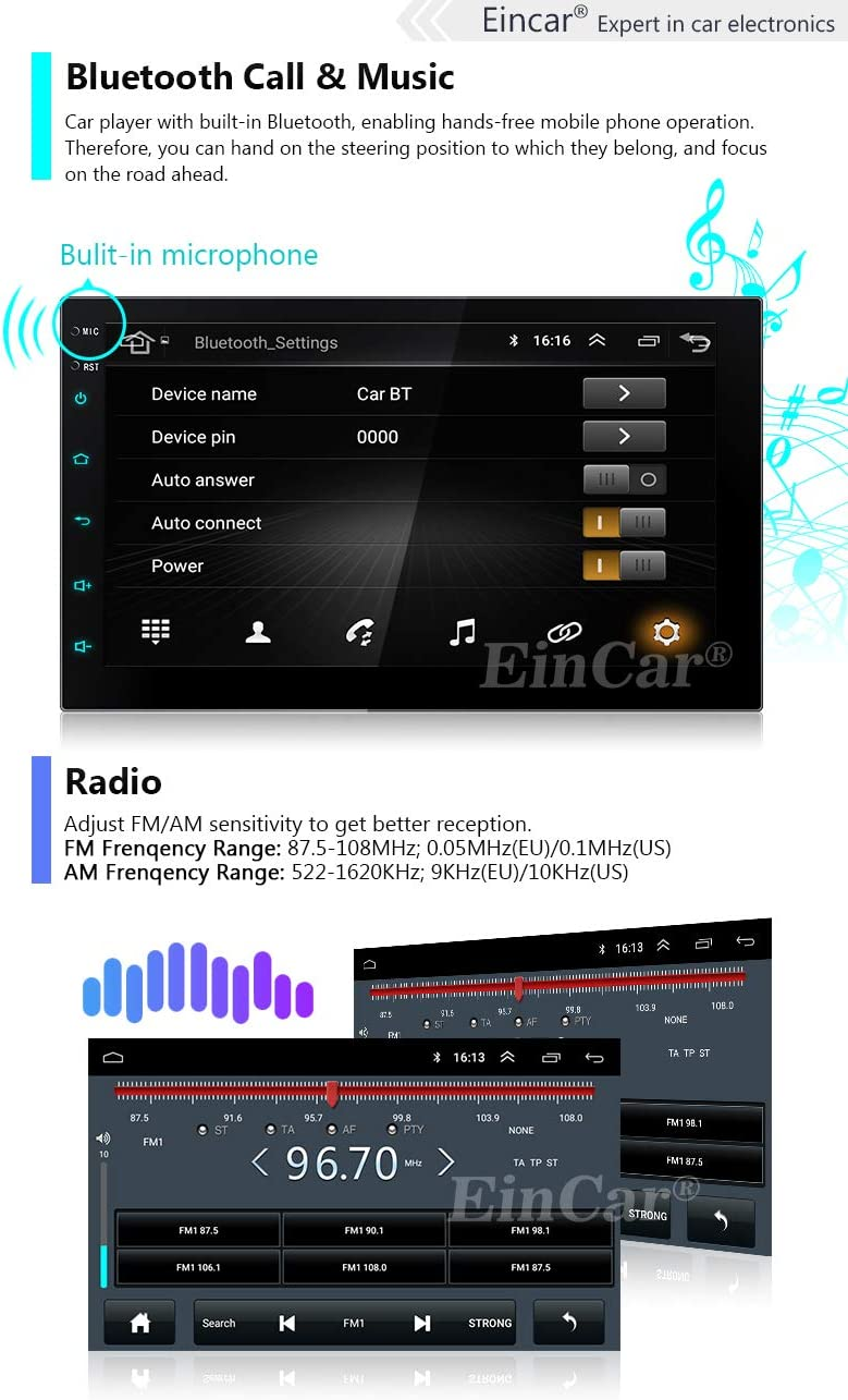 EinCar Double Din 7 Inch Touch Screen Car Stereo Android 10 Car Radio Player Bluetooth Built-in Headunit GPS Navigation 2D//3D Map Support SWC WiFi FM//AM//RDS Autoradio Phone Mirror 1+16GB Cam-in