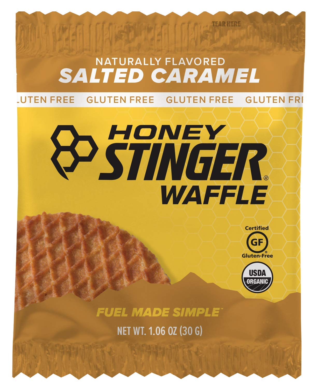 Honey Stinger Organic Gluten Free Waffle, Salted Caramel, Sports Nutrition, 1.06 Ounce (16 Count) by Honey Stinger