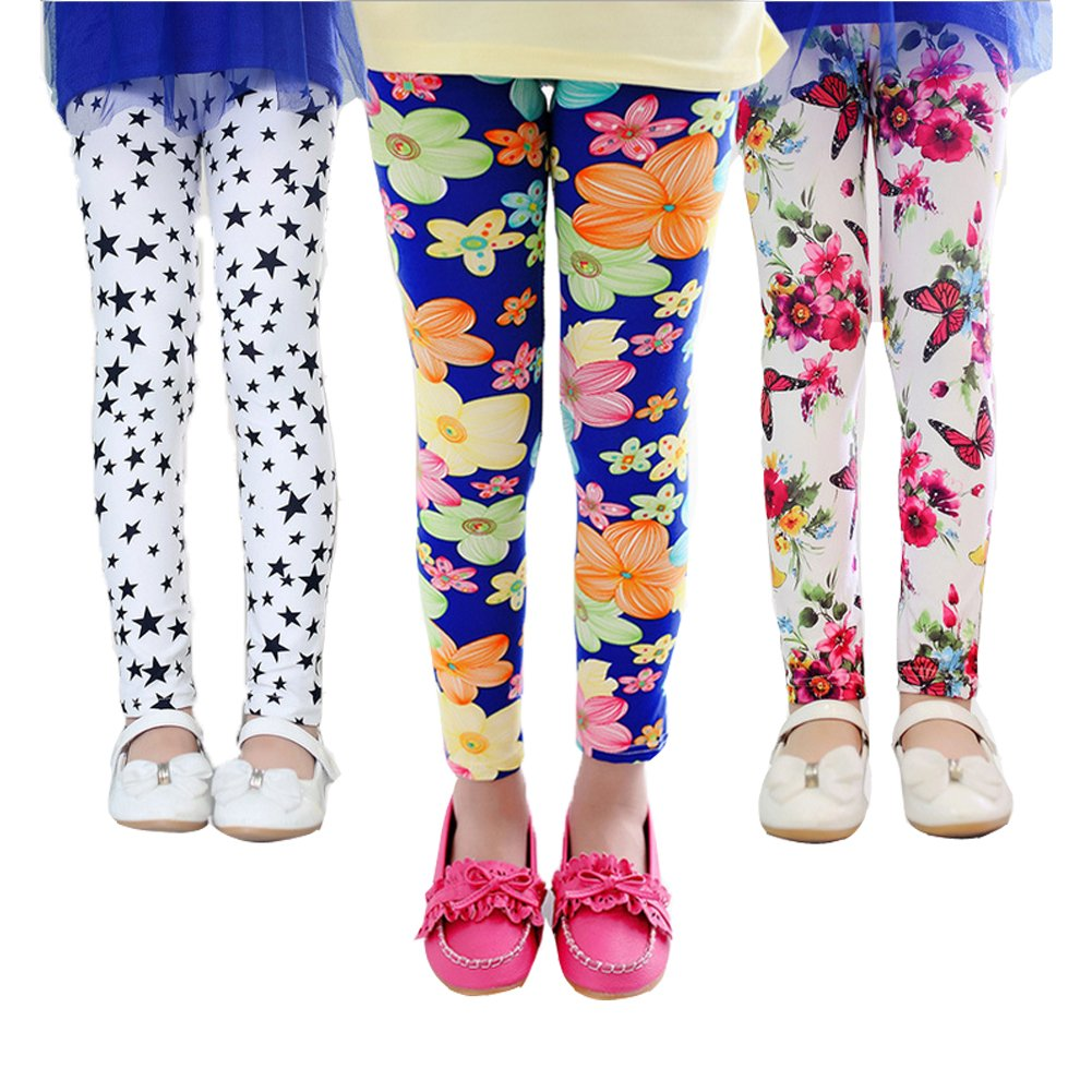 QIJOVO 3 Packs Girls Pants Great Stretch Printing Flower Toddler Leggings Kids
