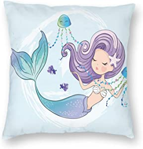 UU Decorative Pillow Covers W/Mermaid Farmhouse Cotton Pillowcove Throw Pillow Covers Cases 18x18 Inch for Couch Sofa Bed Home Floral Pattern …