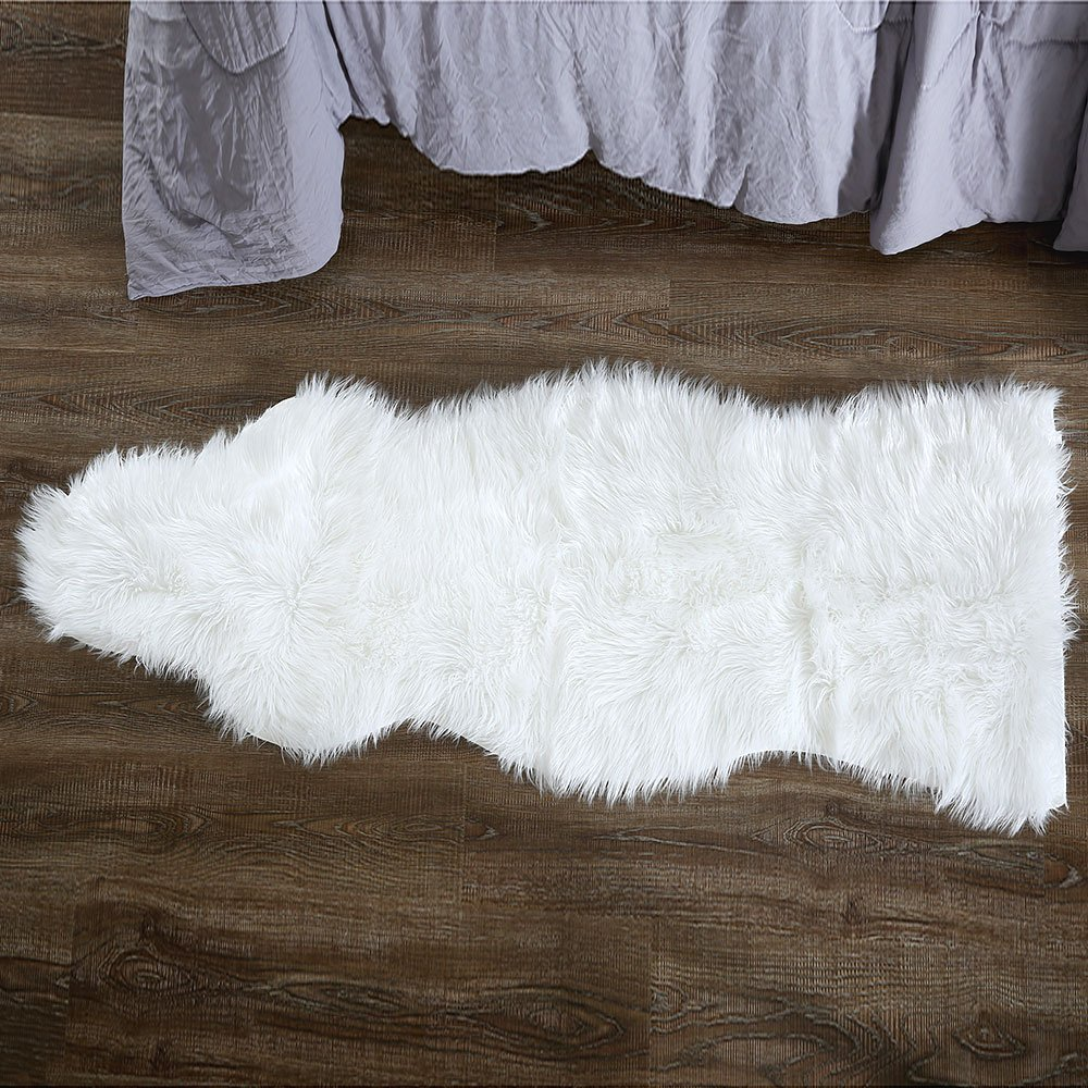 OJIA Deluxe Soft Faux Sheepskin Chair Cover Seat Pad Plain Shaggy Area Rugs for Bedroom Sofa Floor (Ivory White, 2ft x 5ft)