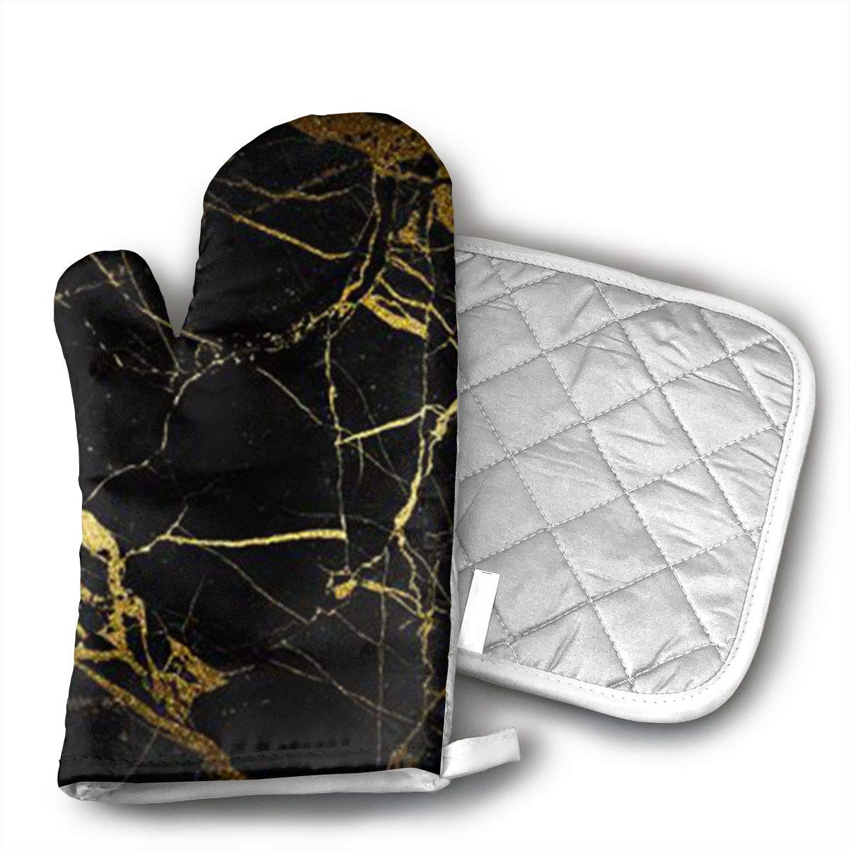 Gold and Black Wallpaper Kitchen Oven Mitts/Gloves - Heat Resistant, Handle Hot Oven/Cooking Items Safely - Soft Insulated Deep Pockets, Non-Slip Grip