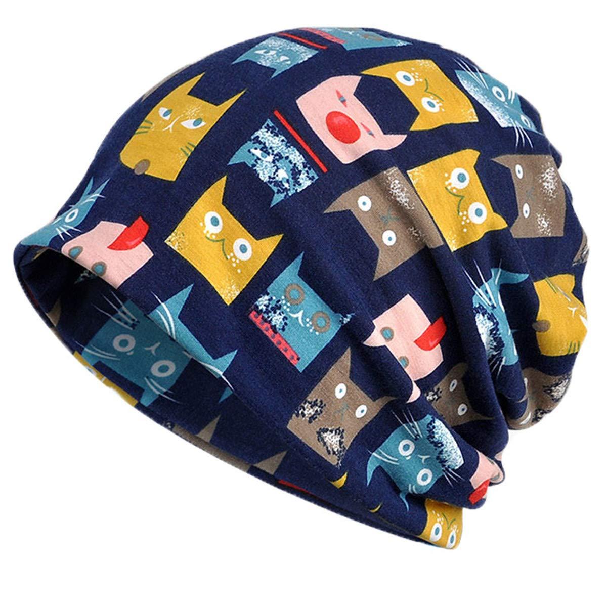 FAIRYRAIN Womens Stripe Lightweight Turban Slouchy Beanie Hat Neckerchief