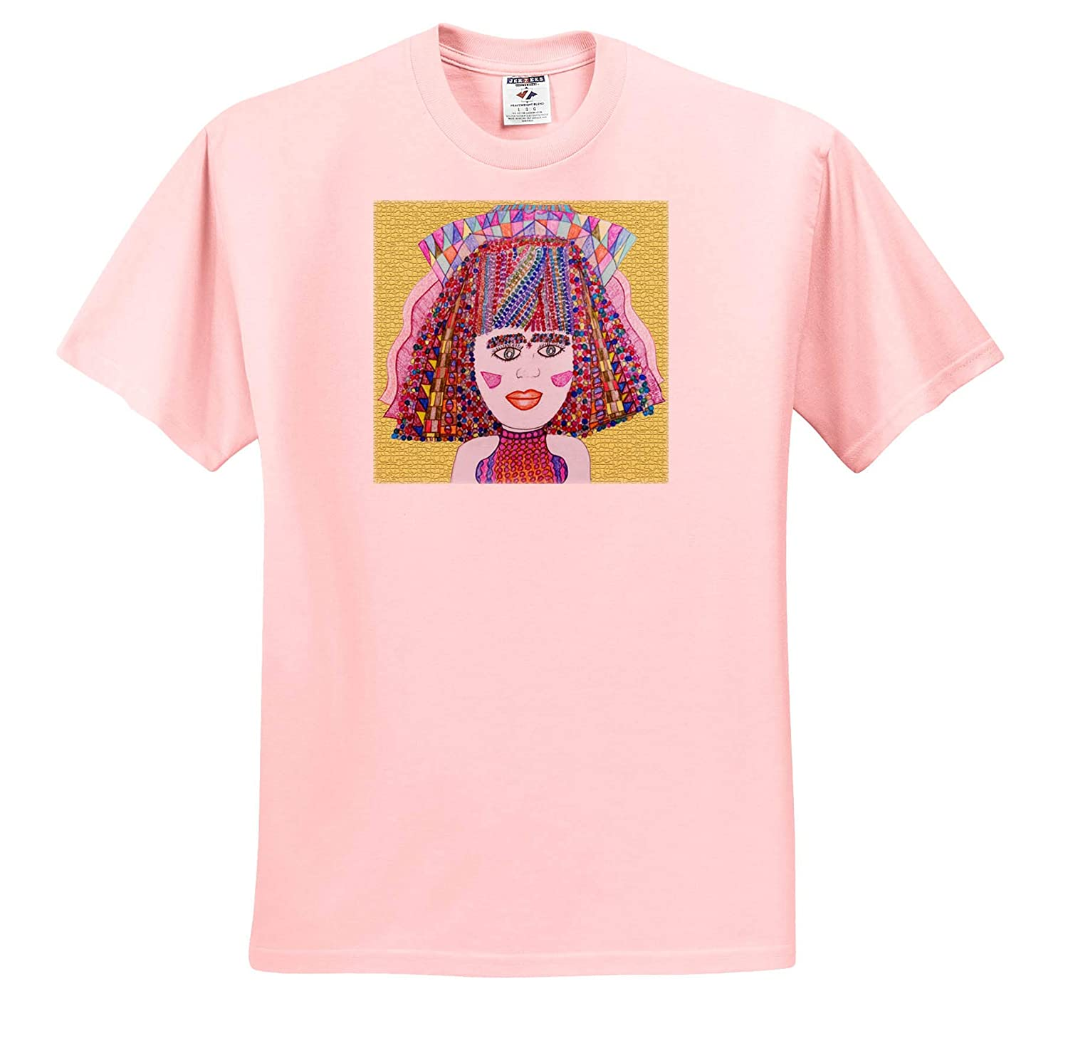 Jos Faux Doll Beaded T-Shirts A Cute Beaded Hairdo on a Girl with a Ribbon Headdress on Gold 3dRose Jos Fauxtographee