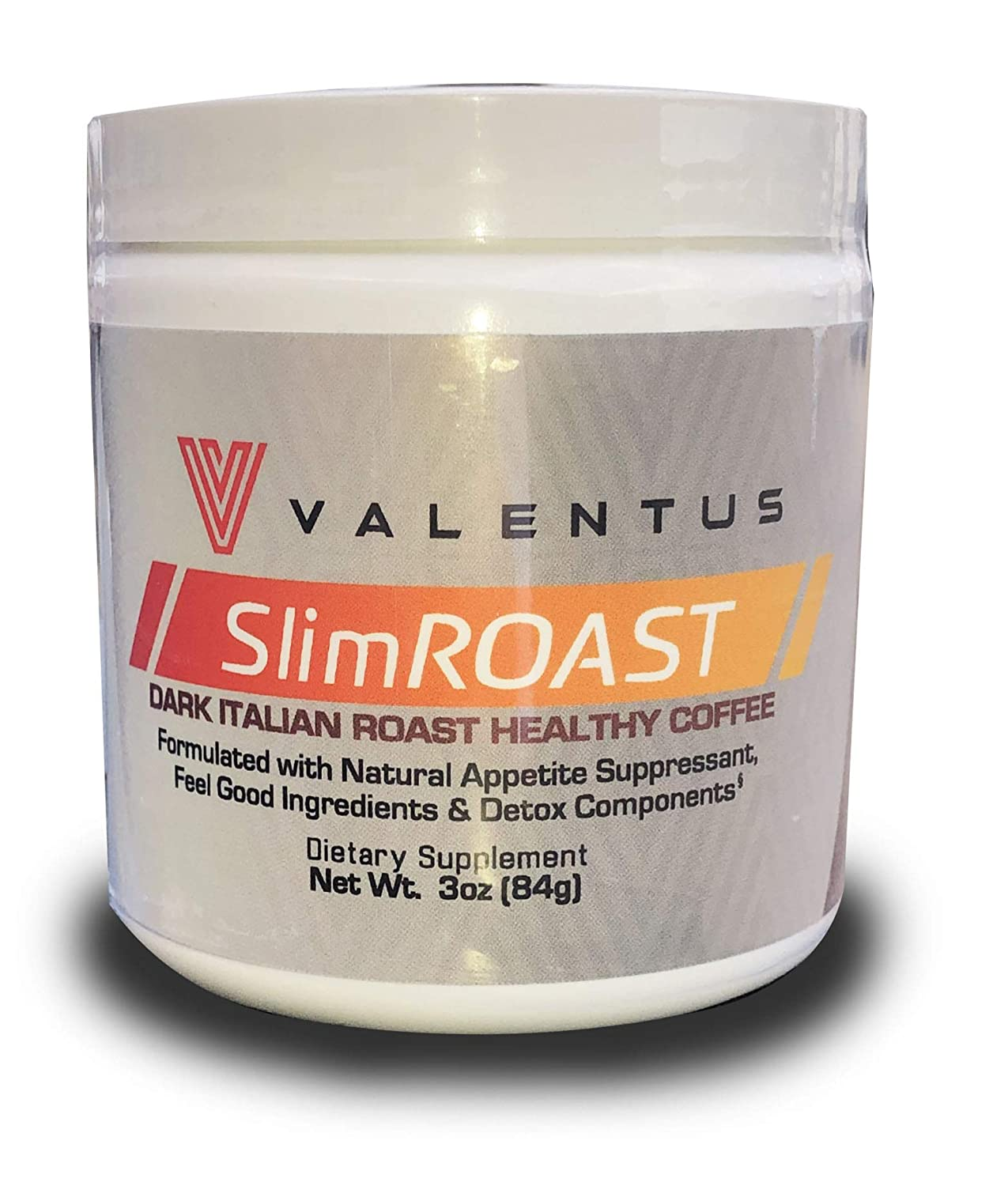 VALENTUS Slim Roast Italian Dark Roast Coffee 3 Oz Canister 24 Servings