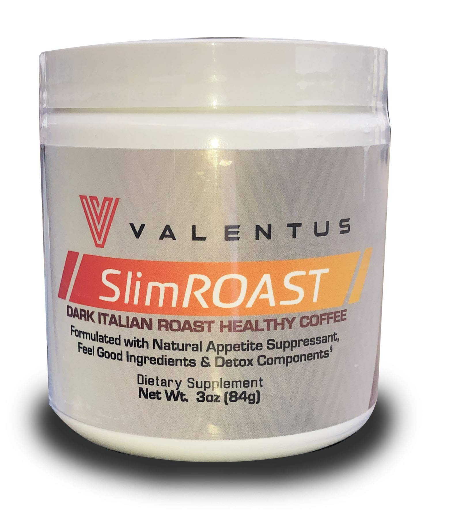 VALENTUS Slim Roast - Italian Dark Roast Coffee 3 Oz. Canister (24 Servings) by VALENTUS