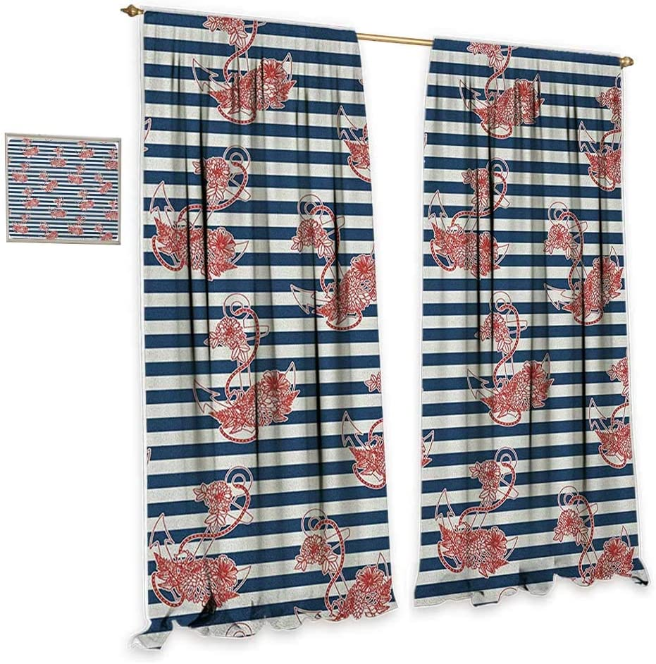 "Anchor Insulated sunshade curtain Floral Anchor on Striped Surface Crescent Moon Cute Modern Spiritual Theme Art Home Garden Bedroom Outdoor Indoor Wall Decorations 55""Wx63""L Blue Red White"