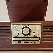Sunstech PXR4CDWD - Tocadiscos (CD, Encoding, USB, SD, MMC, AM/FM, Aux-in), color marrón
