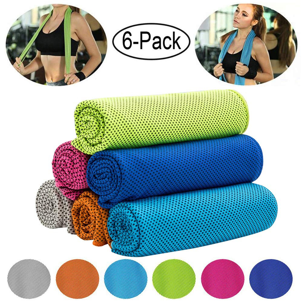 "CHARS Cooling Towel (40""×12""), Microfiber Towel, Fast Drying Towel, Chill Ice Sports Towel and Workout Towel for Sports, Workout, Fitness, Gym, Yoga, Running, Travel, Camping and More"