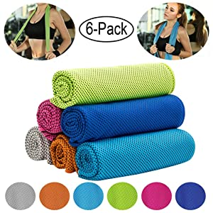 """CHARS Cooling Towel (40""""×12""""), Microfiber Towel, Fast Drying Towel, Chill Ice Sports Towel and Workout Towel for Sports, Workout, Fitness, Gym, Yoga, Running, Travel, Camping and More"""
