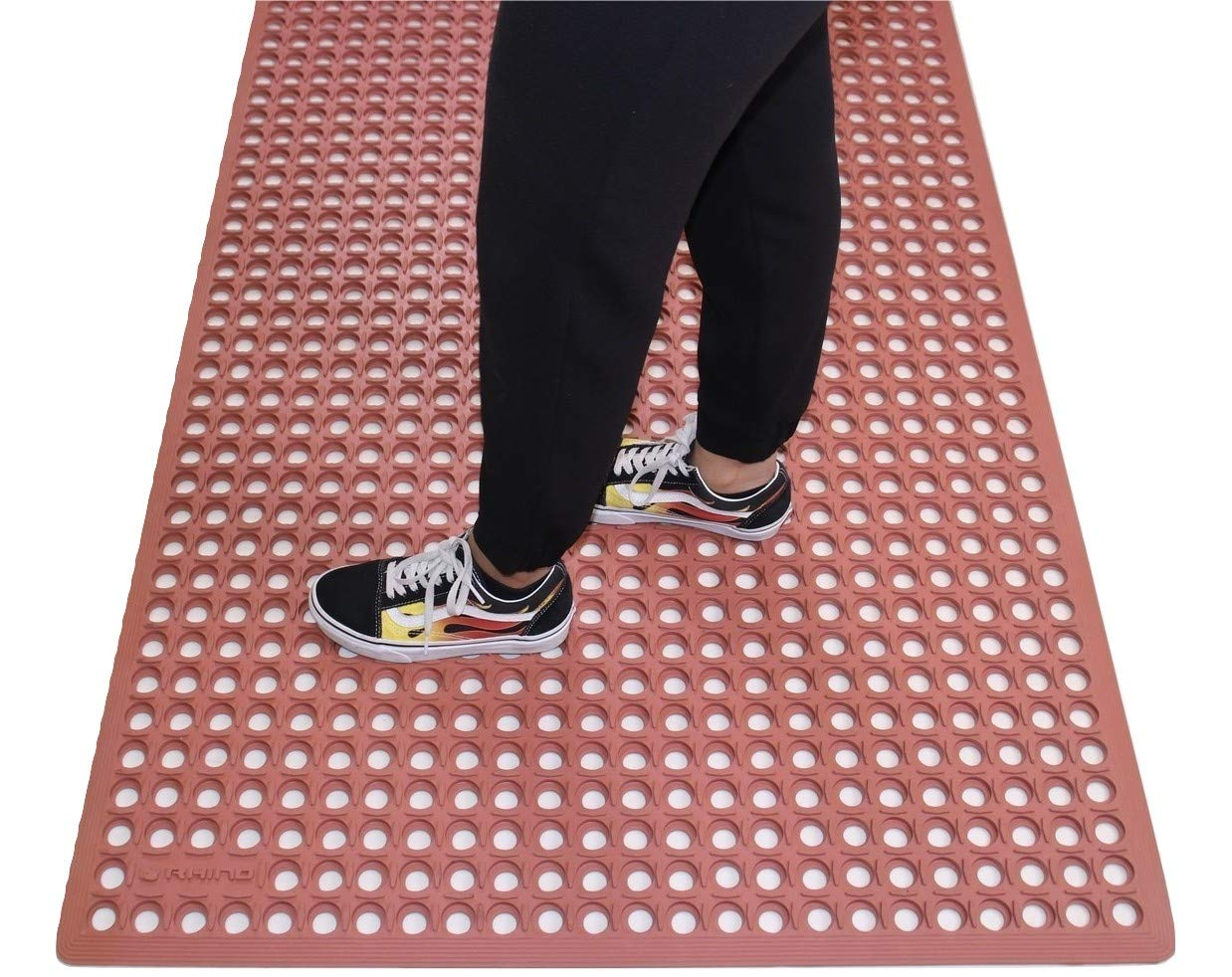 Rhino Mats KCT-310R K-Series Comfort Tract Anti-Fatigue Drain-Thru Mat 3' x 10', 0.5'' Height, 36'' Width, Terra Cotta